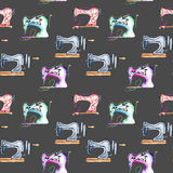 Seamless pattern with watercolor retro sewing machines. Hand drawn isolated on a dark background Stock Photo