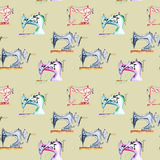 Seamless pattern with watercolor retro sewing machines. Hand drawn isolated on a grey background Royalty Free Stock Image