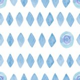 Seamless pattern with watercolor rhombus and rounds in blue color.Modern geometric background on paper texture.Triangulars retro stock illustration
