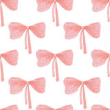 Seamless pattern of watercolor ribbon bow Royalty Free Stock Image