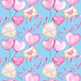 Seamless pattern Watercolor ribbon heart, love letter Greeting card concept. Wedding or Valentine`s Day banner, poster