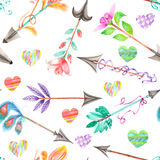 Seamless pattern of watercolor romantic arrows and hearts Royalty Free Stock Photo