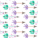 Seamless pattern of watercolor romantic arrows with the mint, green and purple feathers Stock Image