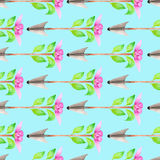Seamless pattern of watercolor romantic arrows with the pink flower and green leaves. Seamless pattern of romantic arrows with the pink flower and green leaves Vector Illustration