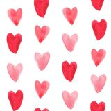 seamless pattern watercolor romantic heart design for valentine`s day, illustration background royalty free stock photo