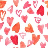 Seamless pattern watercolor romantic heart design for valentine`s day, illustration stock image