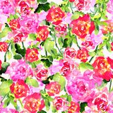Seamless pattern of watercolor roses and leaves. Seamless pattern of watercolor hand drawn bright roses and leaves Stock Photos