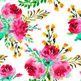 Seamless pattern with watercolor roses and other flowers. Stock Photo