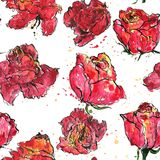 Seamless pattern with watercolor roses Royalty Free Stock Photos
