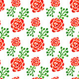 Seamless pattern with watercolor roses. Vector illustration. Floral background for web page, wedding invitation Royalty Free Stock Image