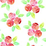 Seamless pattern with watercolor roses on white background. Stock Images