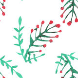 Seamless pattern with watercolor rowan Stock Photography