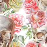 Seamless pattern with watercolor skull and roses Stock Photography