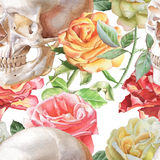 Seamless pattern with watercolor skull and roses Royalty Free Stock Photography