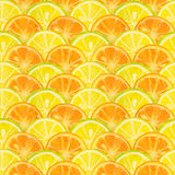 Seamless pattern with watercolor slices of lemon and orange Royalty Free Stock Photography