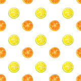 Seamless pattern with watercolor slices of lemon and orange Royalty Free Stock Photos