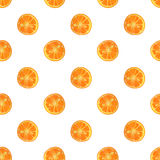 Seamless pattern with watercolor slices of orange Royalty Free Stock Photos