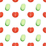 Seamless pattern with watercolor slices of tomatoes and cucumbers Stock Images