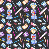 Seamless pattern with watercolor smart schoolgirl, books and stationery objects Stock Photos