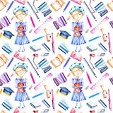 Seamless pattern with watercolor smart schoolgirl, books and stationery objects. Hand painted isolated on a white background Royalty Free Stock Photography