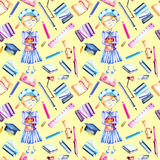 Seamless pattern with watercolor smart schoolgirl, books and stationery objects Royalty Free Stock Photography