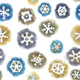 Seamless Pattern with Watercolor Snowflakes Stock Photo