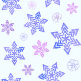 Seamless pattern with watercolor snowflakes Royalty Free Stock Photo
