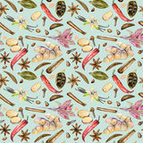 Seamless pattern with watercolor spices cinnamon, anise, caraway, basil, cardamom, red pepper, ginger, vanilla and cloves. Hand drawn isolated on a blue Stock Photos