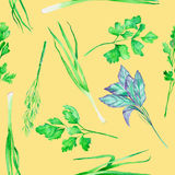 A seamless pattern with the watercolor spices: onion green, dill, parsley, cilantro and basil Stock Photo