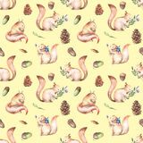 Seamless pattern with watercolor squirrels, fir cones and oak acorns. Hand drawn isolated on a light-yellow background Royalty Free Stock Photography
