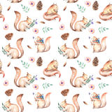 Seamless pattern with watercolor squirrels, fir cones, pink flowers and green branches Royalty Free Stock Images
