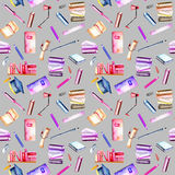 Seamless pattern with watercolor stationery objects Stock Photography