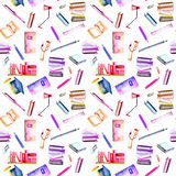 Seamless pattern with watercolor stationery objects Royalty Free Stock Image