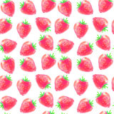 Seamless pattern of watercolor strawberries stock image