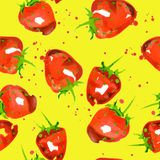 Seamless pattern of watercolor strawberry Stock Photos
