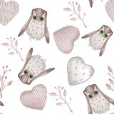 Seamless pattern. Watercolor style textile stuffed owls, branches and hearts royalty free illustration