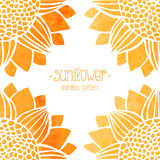 Seamless pattern with watercolor sunflowers stock illustration