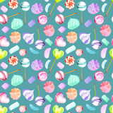 Seamless pattern with watercolor sweets candies, lollipop, marshmallow and paste Royalty Free Stock Photos