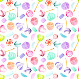 Seamless pattern with watercolor sweets candies, lollipop, marshmallow and paste Royalty Free Stock Images