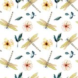 Seamless pattern with watercolor tender dragonflies, pink flowers and green leaves Royalty Free Stock Photography