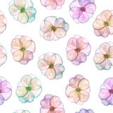 Seamless pattern with watercolor tender flowers in pink and purple pastel shades. Hand drawn on a white background vector illustration