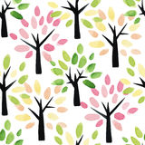 Seamless pattern with watercolor trees. Royalty Free Stock Photo