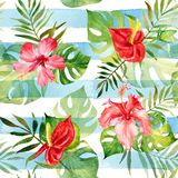 Seamless pattern with watercolor tropical flowers and leaves on stock illustration