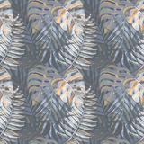 Seamless pattern with watercolor tropical leaves Stock Image