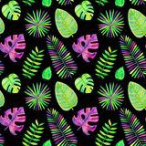 Seamless pattern of watercolor tropical leaves vector illustration