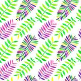 Seamless pattern of watercolor tropical leaves royalty free illustration