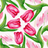 Seamless pattern with watercolor tulips Stock Photo