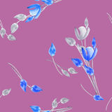 Seamless pattern of watercolor tulips with gray and blue flowers on a deep violet background Royalty Free Stock Photos