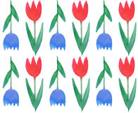 Seamless pattern with watercolor tulips Royalty Free Stock Photo