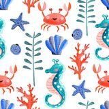 Seamless pattern with watercolor underwater life vector illustration